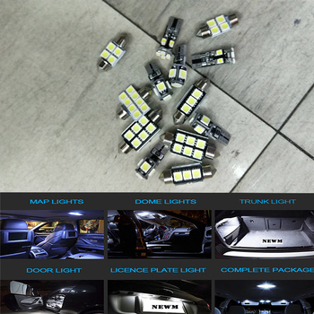 цена на 12pcs/set Auto Car Interior LED Light Bulbs Canbus Kit for VW 2005-2010 Touareg White Trunk Step Courtesy Lamp