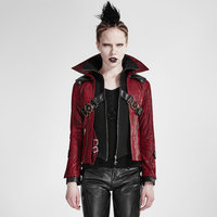 Steampunk Red And Black Handsome Leather Short Coat Gothic Style Women Stand Collar Slim Fit Mortorcycle Jacket Coats