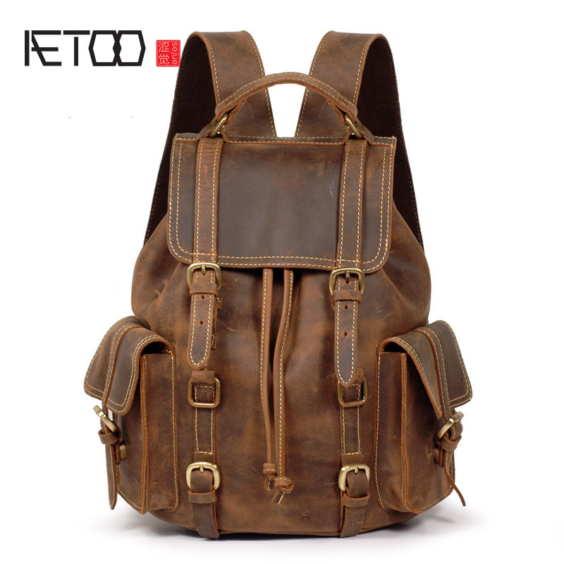 AETOO Crazy horse leather leather shoulder bag backpack retro backpack male bag first layer cowhide do old men backpack aetoo spring and summer new leather handmade handmade first layer of planted tanned leather retro bag backpack bag