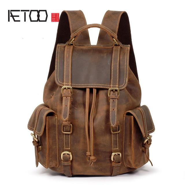 AETOO Crazy horse кожаная сумка на плечо рюкзак ретро рюкзак мужская сумка первый слой яловой кожи сделать старый мужской рюкзак