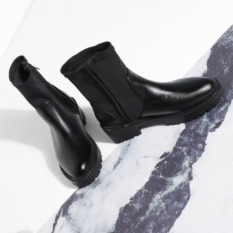Femelle Black With Bottes Jookrrix black Marque Automne Chaussures De Noir Casual Mode Bottines Femmes 2018 Dame Chaussure Martin Fur TFclK1J3