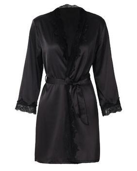 1620 Women's Satin Silk Woman Lace Robe Female Lace Bathrobe Womens Robes Sleepwear Ladies Sexy Robe For Women Drop Shippin 1