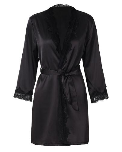 Women\'S Satin Silk Woman Lace Robe Ladies Sexy Robe For Women Female Lace Bathrobe Womens Robes Sleepwear
