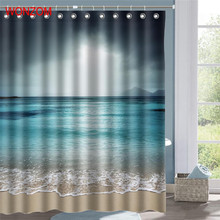 WONZOM Landscape Shower Curtains For Bathroom Decor Modern Polyester Fabric 3D Sea Bath Curtain with 12 Hooks Mildewproof Gift