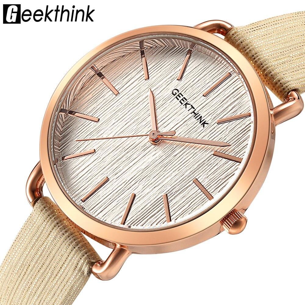 Geekthink Top luxusmarke Mode Quarz Uhren Frauen Diamanten Armbanduhr Casual Leder Damen Kleid Uhr Weibliche Neue relogio
