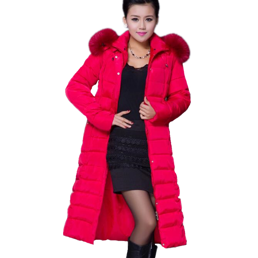 5XL Plus Size Winter Jacket Women 2017 Winter Coat Long Parka Luxury Fur collar Cotton-Padded Coat Women Wadded Jackets winter thicker large fur collar hooded cotton jacket women warmer padded parka high quality wadded ukraine coat chaqueta mujer