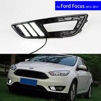 LED Daytime Running Car Lights DRL Kit Auto Fog Lamps for Ford Focus Seden Hatchback 2015 2016 2017 Free Shipping