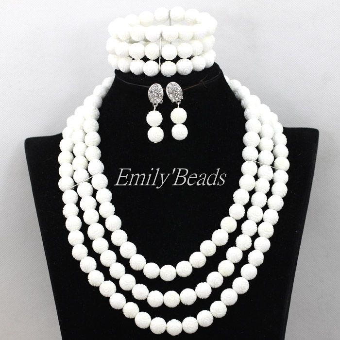 2016 Pretty African Wedding Plain White Carve Coral Beads Necklace ...
