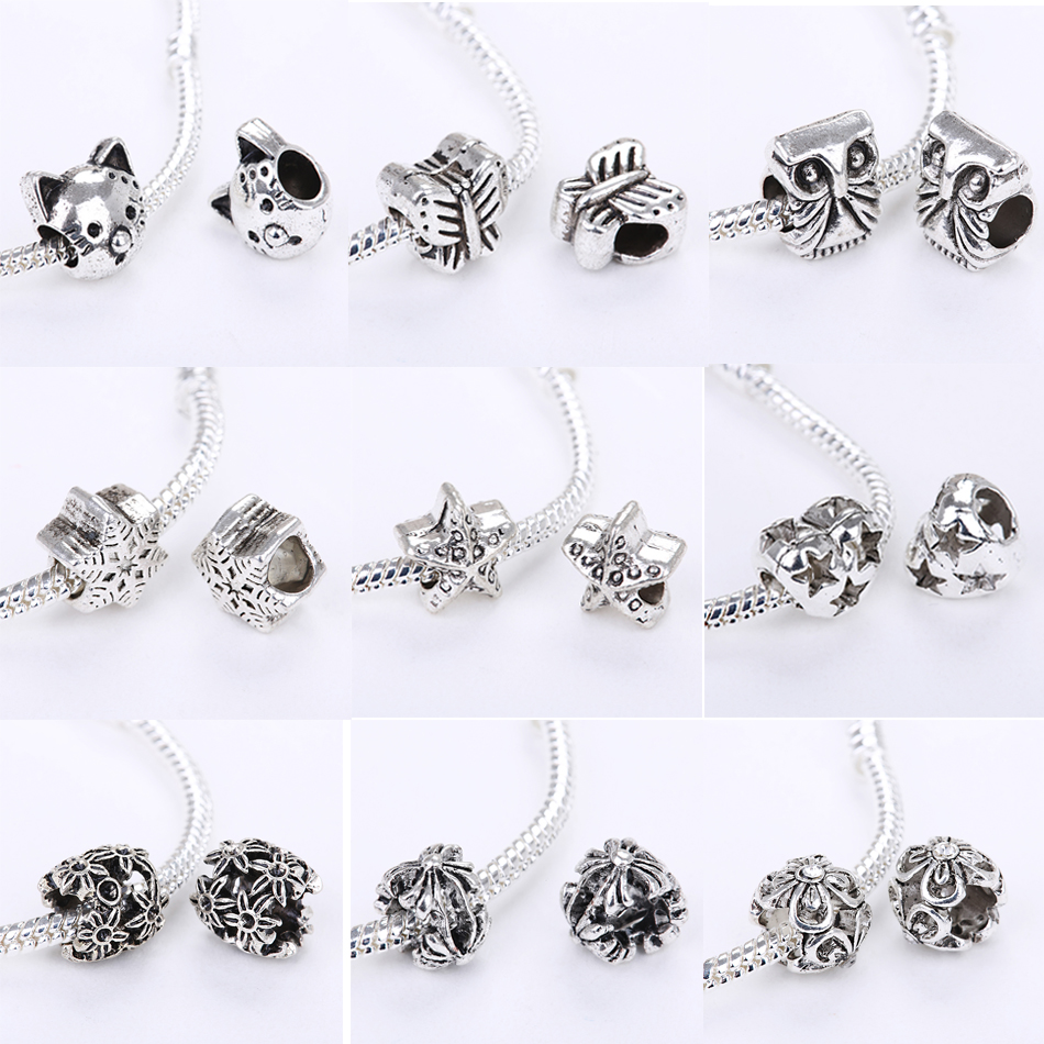 Fits Pandora Charms Bracelet Silver Color Bead Lovely Cat Owl Animal Star Flower Charm Beads DIY Bracelets for Women Jewelry 1PC
