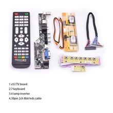 V53 Universal TV LCD 10 42 นิ้วLVDSบอร์ดทีวีVGA AV HDMI USB DS v53RL.BKชุดเต็มสำหรับLTM190M2