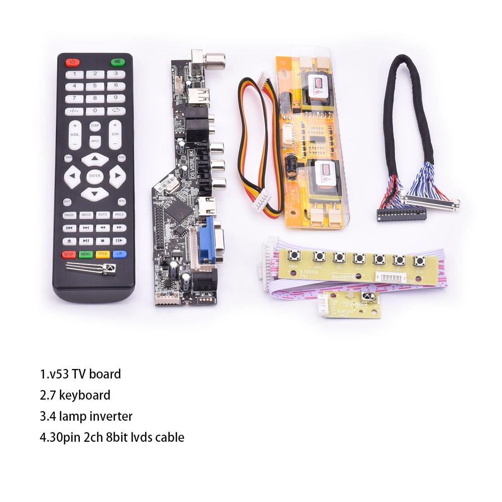 V53 universal TV lcd control board 10-42inch lvds driver board TV VGA AV HDMI USB DS.V53RL.BK full kit for LTM190M2