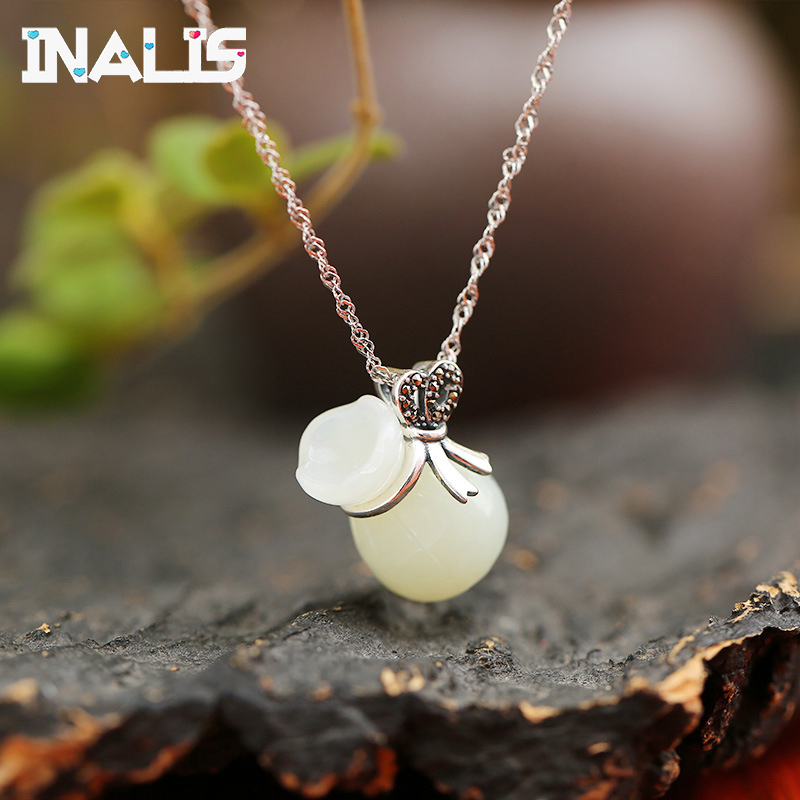Unique Design Link Chain Necklace 925 Sterling Silver Natural Hetian Jade Lucky Bag Pendant for Women Girl Fine Jewelry