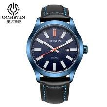 2016 Luxury Brand OCHSTIN смотреть Мужчины Кожаный Ремешок Аналоговые Кварцевые Дата Мода Повседневная Спортивные Часы мужские Военные Наручные Часы