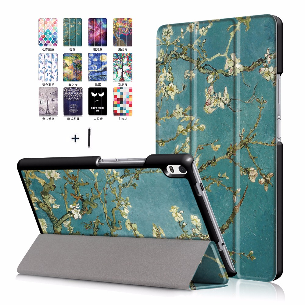 For Lenovo Tab 4 8 Plus Tablet Case for Lenovo Tab 4 8 Plus TB-8704F/N Ultra Thin Cover Flip Stand Leather Shell+Stylus phab2 plus soft silicone case cover ultraslim tablet phone case 6 44 protective stand for lenovo phab2 plus pb2 670 shell skin