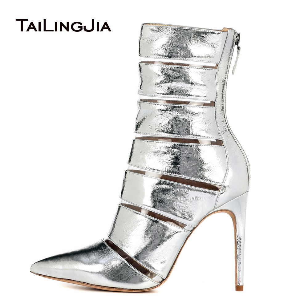 Women Pointy High Heel Ankle Boots Metallic Sliver Transparent Pointed Toe Heeled Booties Ladies Spring Autumn Stiletto ShoesWomen Pointy High Heel Ankle Boots Metallic Sliver Transparent Pointed Toe Heeled Booties Ladies Spring Autumn Stiletto Shoes