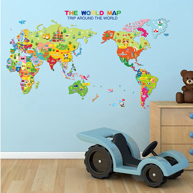 Cute animal world map vinyl wall stickers for kids rooms living room cute animal world map vinyl wall stickers for kids rooms living room home decorations pvc decal gumiabroncs Gallery