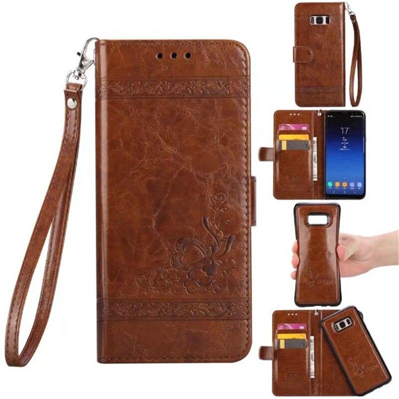 2 в 1 съемная Флип кожаный чехол для Samsung Galaxy S8 S8 плюс 3D кошелек Coque + силиконовая задняя крышка для Samsung Galaxy S8 плюс