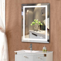 LED Wall Bathroom Lighted Mirror With Touch Button Illuminated Makeup espelho Home Decorations Hot Selling Indoor Lighting HWC