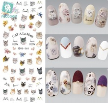 Rocooart DS365 Water Transfer Nails Art Sticker 2017 Year Cat A La Mode Kitty Heads Nail Wrap Sticker Manicura stickers
