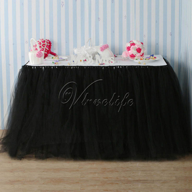 100cm x 80cm Black Tulle Tutu Table Skirts Tableware for Wedding Party Baby Shower Birthday Xmas Table Decor