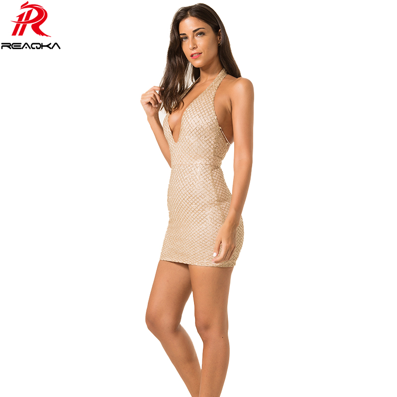 ef6b7f61c11e Reaqka Women Sexy Gold Sequins Summer Dress 2018 Vintage Night Party Dresses  Shinning Metal Off Shoulder Strap Lace Mesh Vestido-in Dresses from Women s  ...