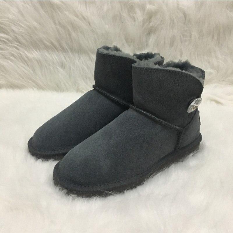 Australie Style femmes hiver neige bottes cristal bouton & LOGO daim cuir hiver bottines marque Ivg femmes taille 3-14