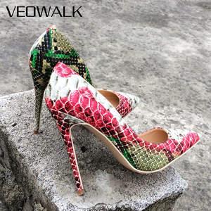 42d378b8d95a Veowalk Leather Women Sexy Red High Heels Stiletto Pumps