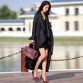 Verragee Женщины Осень Зимнее Пальто 2016 Мода Офис Дамы Черный красный Длинный Тренчкот Женщины Плюс Размер X Долго Траншеи пальто