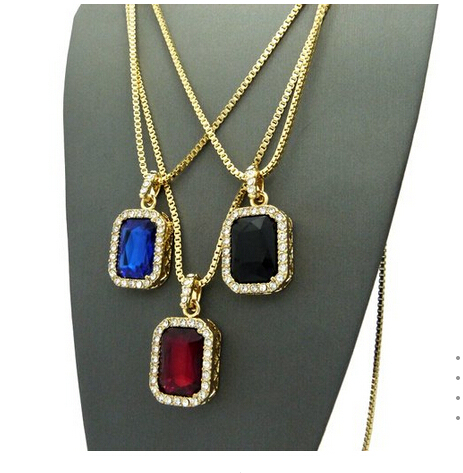 Micro Square Red & Black & Blue Necklace Pendant 2.4mm 24 3