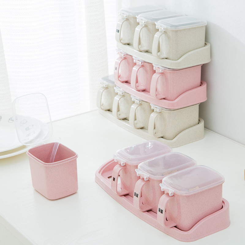 3 in 1 and 4 wheat straw independent compartment plastic seasoning box set Kitchen storage spice Jars Herb tools