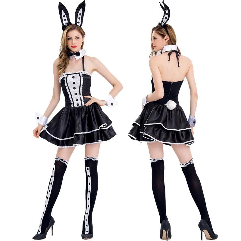 Женское сексуальное платье для Хэллоуина с кроликами с ушками головной убор Клубное платье с кроликом для девочек Женский сексуальный кост...