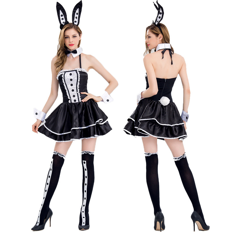 Halloween Women Sexy Bunnies Dress with ear headpiece Club bunny girl dress Lady sexy costume cross dress S/M/L/XL