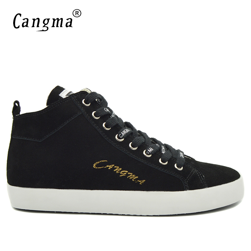 CANGMA Italy Marque Man Casual Shoes Autumn Men Sneakers Lace Up Black Cow Suede Footwear Male Genuine Leather Mid Leisure Shoes cangma italy deluxe brand women men casual golden shoes zebra silver genuine leather low sstar smile goose shoes zapatos mujer