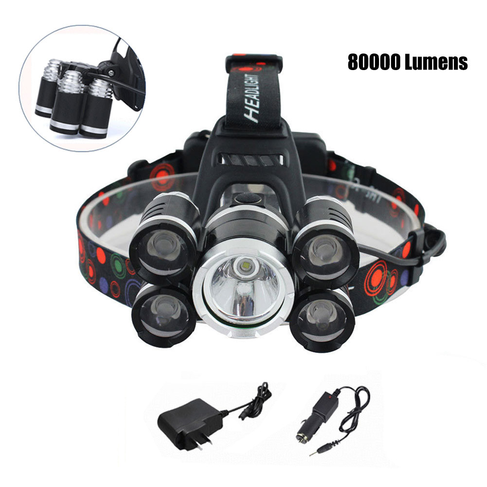 USB Headlamp Zoomable 80000LM 5 LED XML-T6 Rechargeable Head Light CLH@8 sitemap 97 xml page 8