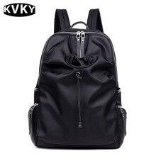 Kvky женщины наушники отверстие дизайнер путешествия ежедневно нейлон черный рюкзак студент мешок школы для подростков девушка рюкзаки