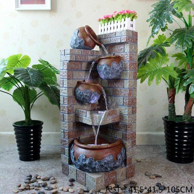 Estilo europeo interior decoraci n fuente de agua rocalla terraza jard n y sala de estar - Fuente terraza ...