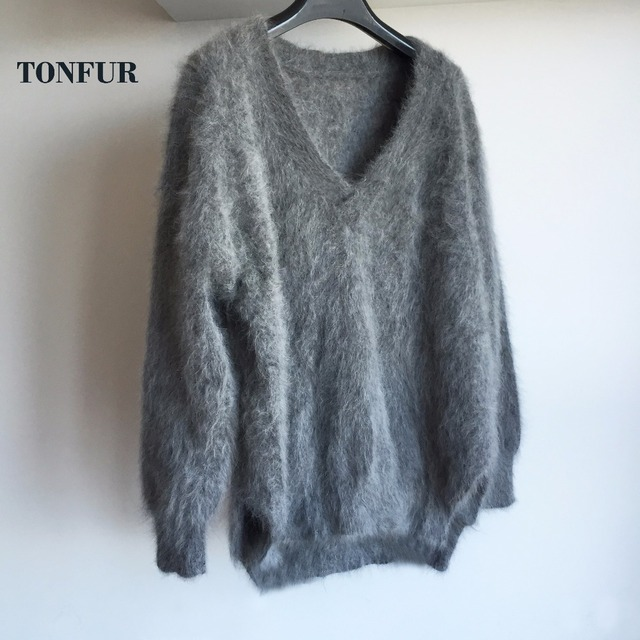 2018 Must Have Item Basic Match Well V Neck 100% Mink Cashmere Sweater Natural Good Handmade Real Mink Cashmere Pullovers sr330
