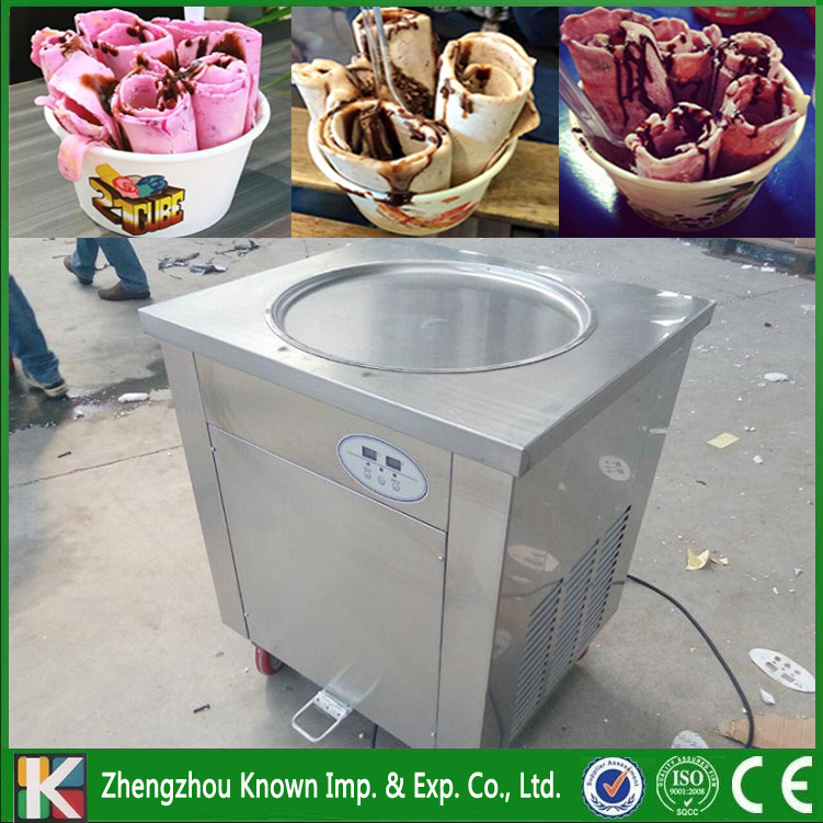 Free shipping supply 45/50 cm single round pan fried ice cream roll machine with Temperature control system and Pedal defrosting