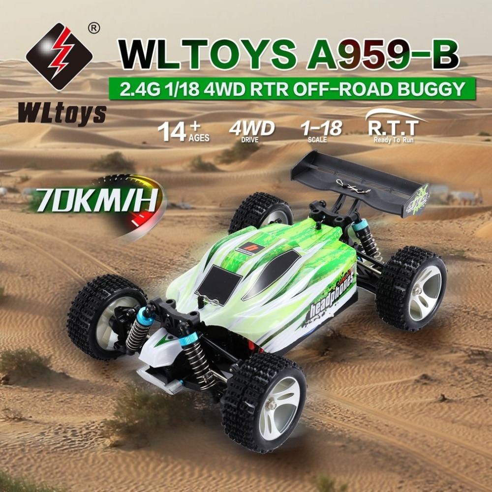 WLtoys A959-B 2.4G 1/18 Full Proportional Remote Control 4WD Vehicle 70KM/h High Speed Electric RTR Off-road Buggy RC CarWLtoys A959-B 2.4G 1/18 Full Proportional Remote Control 4WD Vehicle 70KM/h High Speed Electric RTR Off-road Buggy RC Car