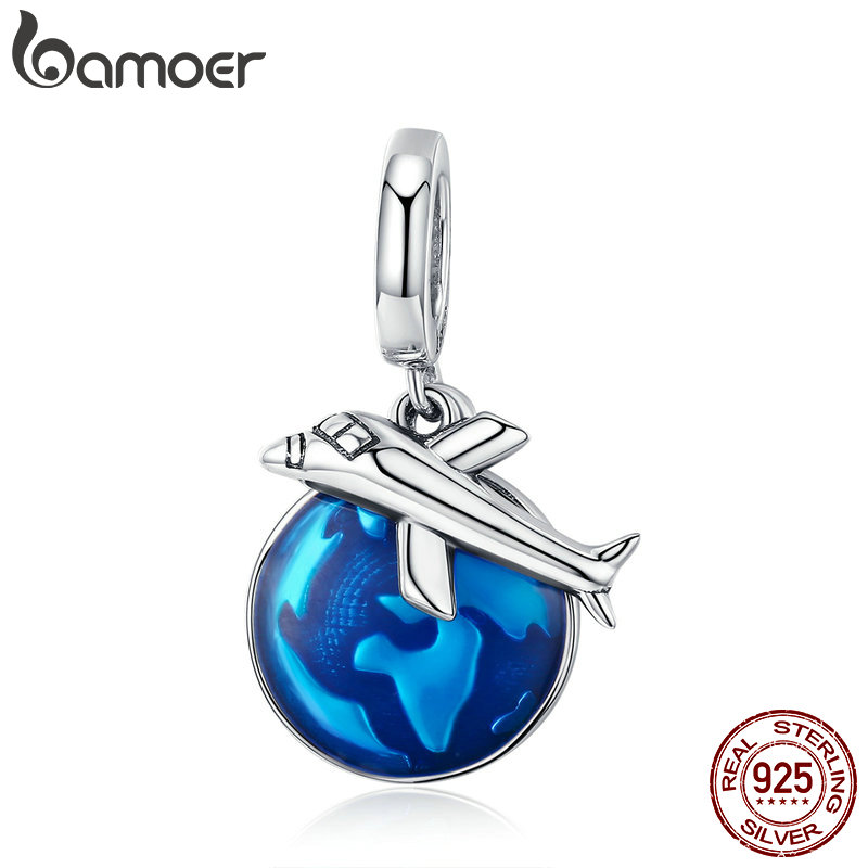 BAMOER New Arrival 925 Sterling Silver Travel Around World Plane Charm Pendant fit Women Bracelet & Necklaces Jewelry SCC664