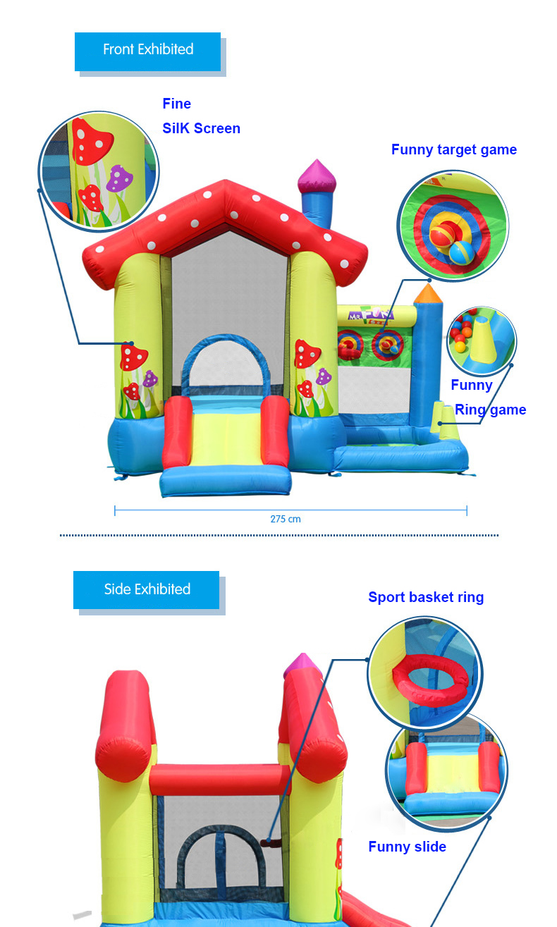 HTB1j2zKPFXXXXXqXFXXq6xXFXXXE - Mr. Fun Inflated Bouncing Castle Mushroom Jumper Playhouse with Kids Slide, Ball Pool, & Target Game with Blower