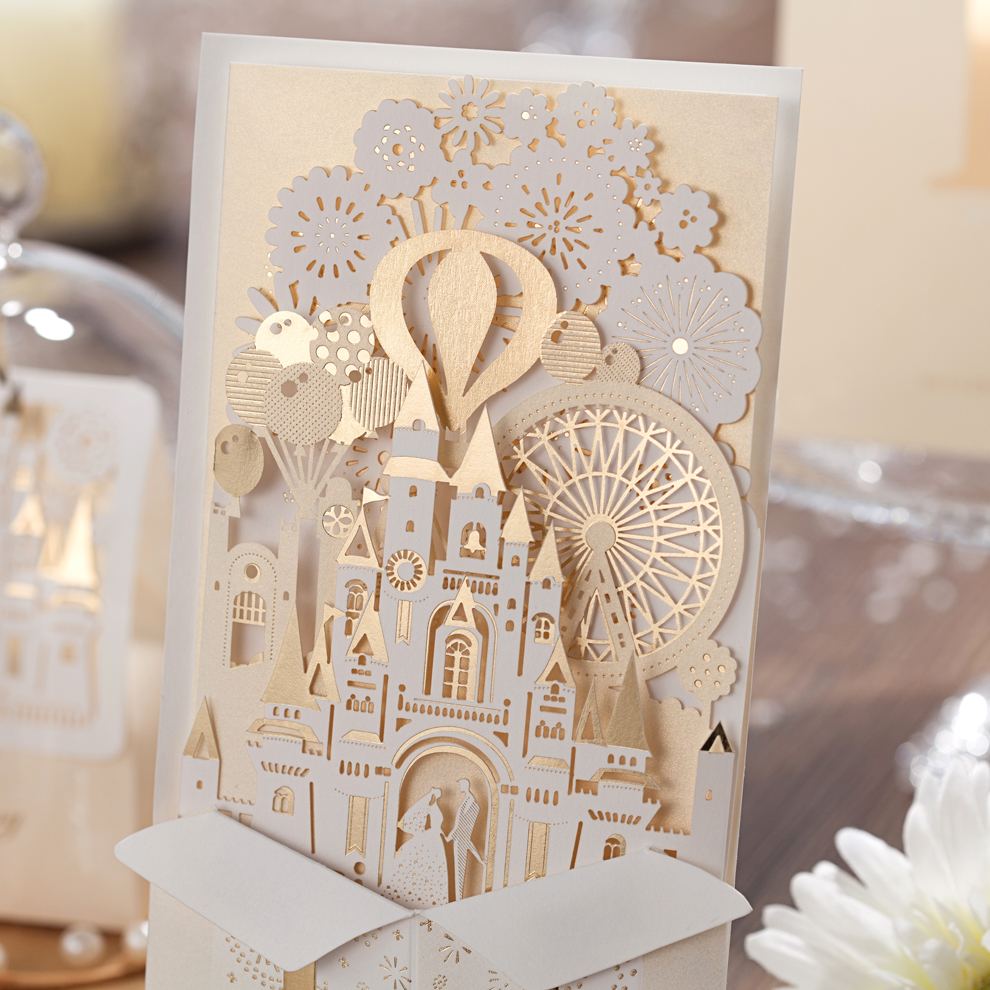 Elegant Silver Pop up 3D invitation card Laser cut Gold foil ...