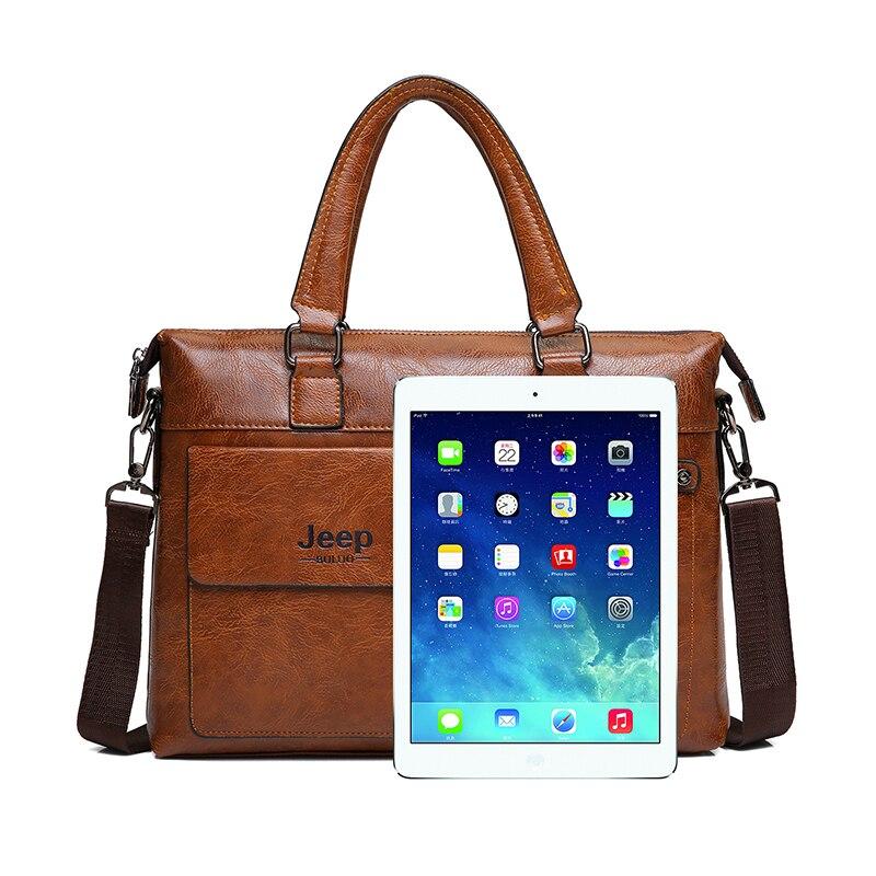Famous Designer JEEP BULUO Brands Men Business Briefcase PU Leather Shoulder Bags For 14 Inch Laptop Bag big Travel Handbag 6013