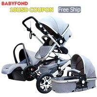 Высокая Пейзаж детская коляска 3 в 1 четыре колеса складной маленький новорожденный детский автомобиль набор