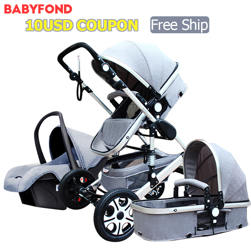 High Landscape Baby Stroller 3 in 1 Four Wheel Folding Small Newborn Baby car set ...