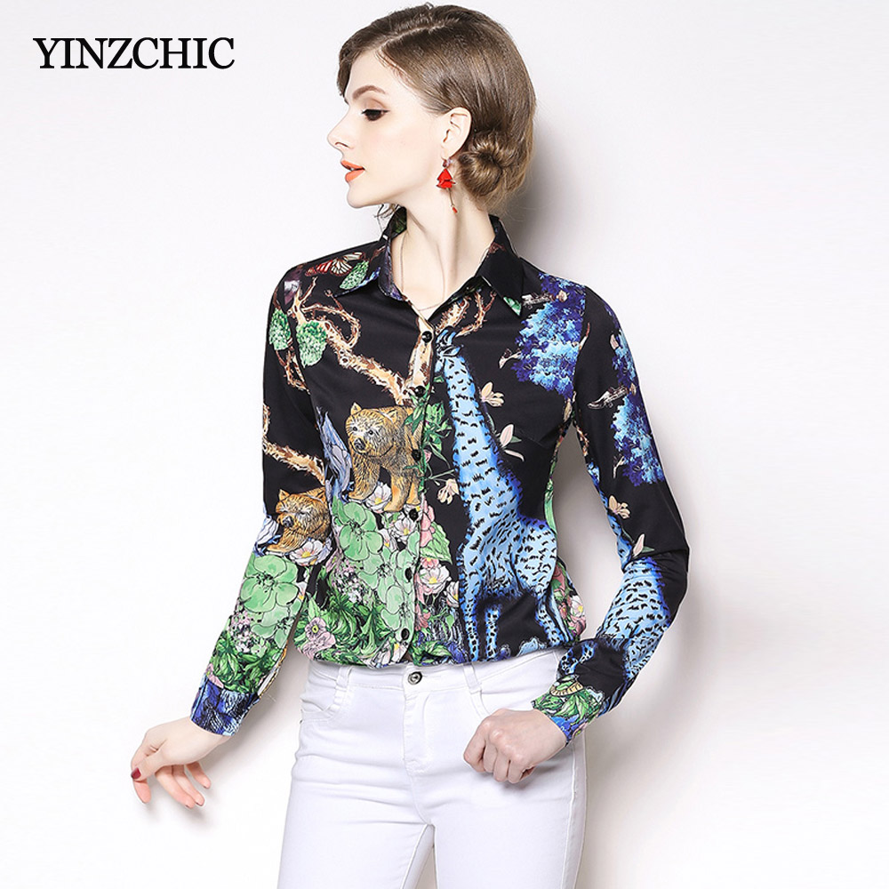 Fashion Womans Print Blouse Spring New Office Lady Elegant Shirts Turn Down Collar Female Casual Blouses Women
