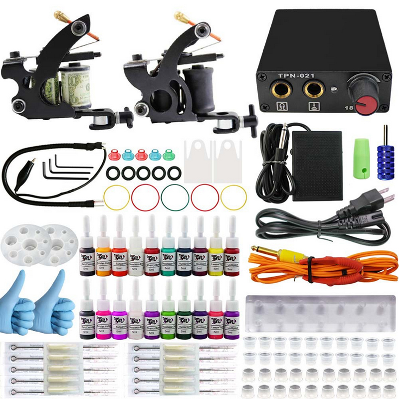 Professional tattoo kit 2 guns machines 3 ink sets power supply disposable needle Cord Kit Body Beauty DIY Tool free shipping professional tattoo kits liner and shader machines immortal ink needles sets power supply
