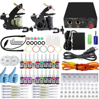 Professional 1Set Complete Equipment Dual Tattoo Machine Gun 20Color Inks Power Supply Cord Kit Body Rotary