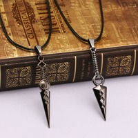 HSIC 10pcs Lot Wholesale Naruto Necklace Shuriken Naruto Warrior Hand Props Pendant Men Jewelry HC102186