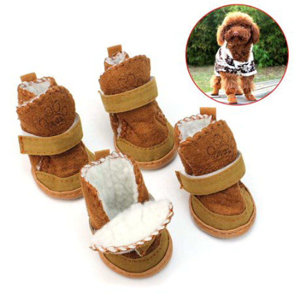 Brown Pet DOG BOOT Anti-Slip Pet Shoes winter warm puppy booty shoes non slip design for doggy outside wearing
